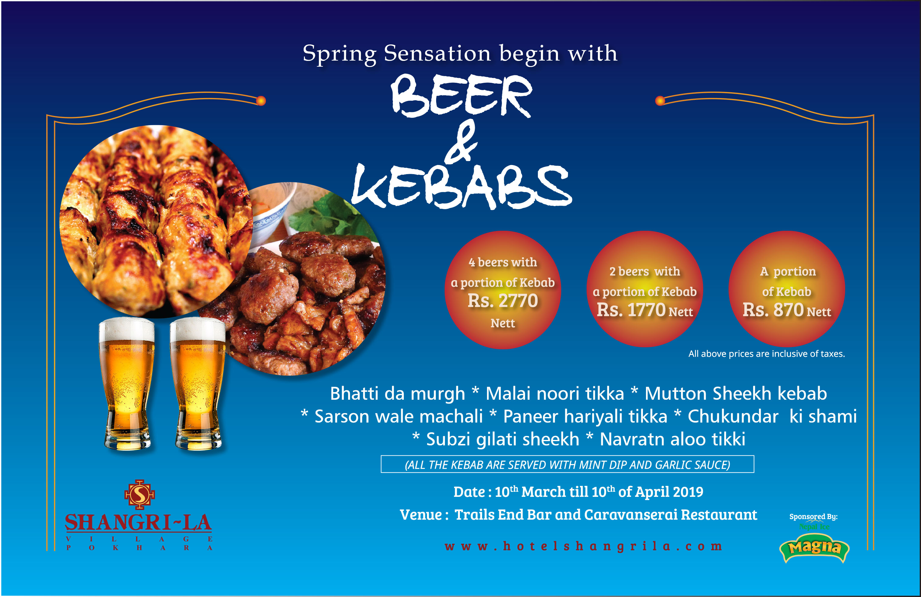 Kebab & Beer - Shangri~La Village Resort